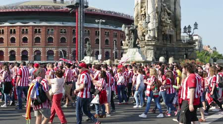 cityspace : BARCELONA, SPAIN - MAY 30, 2015: Football Fans of Athletic Bilbao Club  before the final game of the Cup with Barcelona club  in Barcelona, Spain Stock Footage