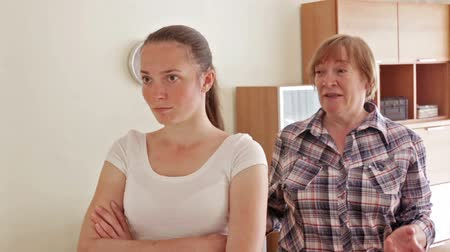 conflict : Mother and adult daughter after quarrel. Stock Footage
