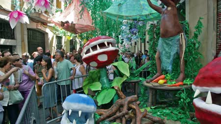 gracia district : BARCELONA, SPAIN - AUGUST 16, 2015:   Major de Gracia Festival  in Barcelona, Spain. Decorated streets of Gracia district