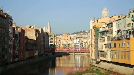 old times : Day view of river and picturesque homes in Girona. Catalonia, Spain