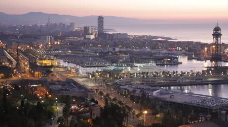 Каталония : Morning panoramic view of Barcelona from high point. Spain Стоковые видеозаписи