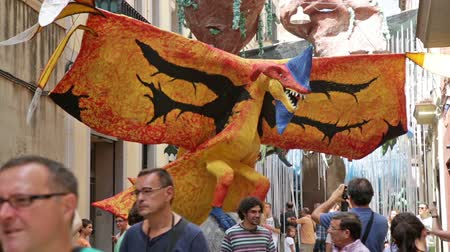 gracia district : BARCELONA, SPAIN - AUGUST 16, 2015:   Major de Gracia Festival  in Barcelona, Spain. Stock Footage