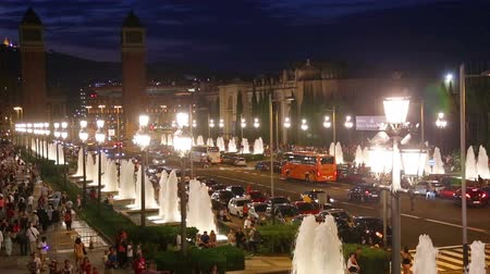 fontain : BARCELONA, SPAIN - JULY 24, 2016: Night view of Plaza de Espana with Venetian towers. Barcelona, Spain
