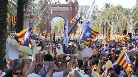 cityspace : BARCELONA, SPAIN – SEPTEMBER 11, 2016: festive parade on day of Catalonia with national flags