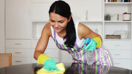 pokojowka : Brunette at pinafore smiling and clean up house Wideo