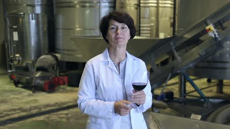 fixação : Expert examines equipment at winery and writes down remarks