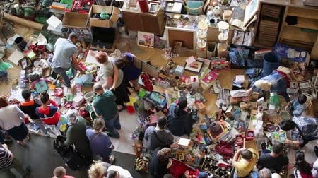 jumble : BARCELONA, SPAIN - OCTOBER 8, 2016: Top view of Mercat de Encants flea market in Barcelona, Spain.