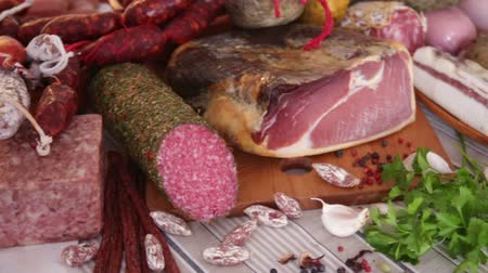 especially : delicious variety of meat products. Stock Footage