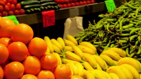 persimmons : Fruits and vegetables on spanish market counter