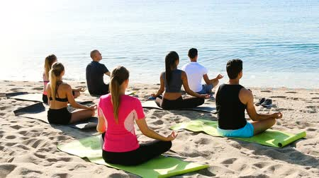 sand lia : Group of people practicing yoga in lotus positions on the beach and looking at smooth sea