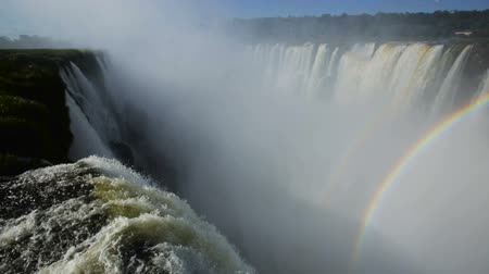 diabolo : General viewing of the impressive Iguazu Falls system in Argentina Stock Footage