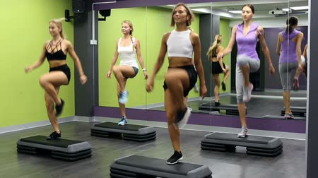 step : Smiling athletic girls performing step aerobics in fitness club