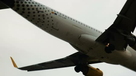 chartered : BARCELONA, SPAIN - AUGUST 19, 2017: Vueling Airlines plane arriving at El Prat Airport on schedule. Barcelona, ??Catalonia
