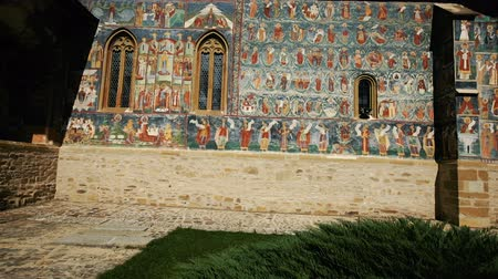 edifício exterior : Image of frescoes of church in Sucevita Monastery on Bucovina in Romania.