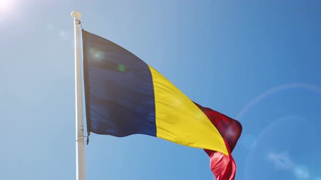 romeno : Romanian flag is national symbol of country. Stock Footage