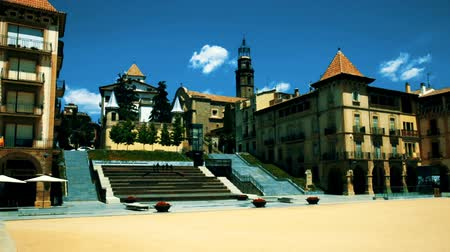 pyramidal : Architecture of the main square of Fra Bernadi of provincial city of Manlleu, Spain