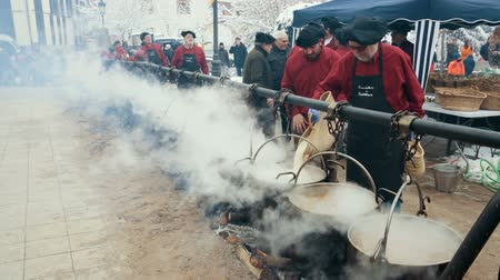 úterý : CASTELLTERCOL, SPAIN - FEBRUARY 13, 2018: Feast of escudella soup, oldest of city holidays of Castelltercol