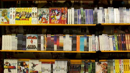 serial : BARCELONA, SPAIN - FEBRUARY 15, 2018: Large collection of movies on DVD for sale on display at store
