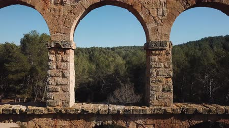 tiered : View of Pont del Diable with two levels of arches, antique Roman aqueduct near Spanish town of Tarragona Stock Footage
