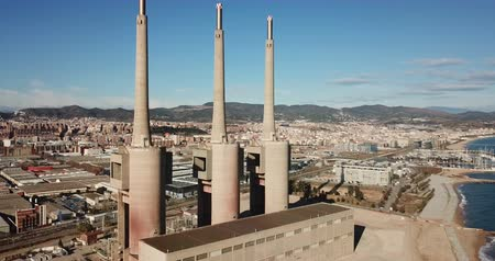neglected : chimneys of closed power thermal station. Barcelona Stock Footage