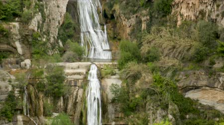 каталонский : View of natural area Sant Miquel del Fai with waterfall cascades, Barcelona, ??Spain Стоковые видеозаписи