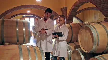 lab employee : Winery workers in white robes controlling fermantation process of wine Stock Footage