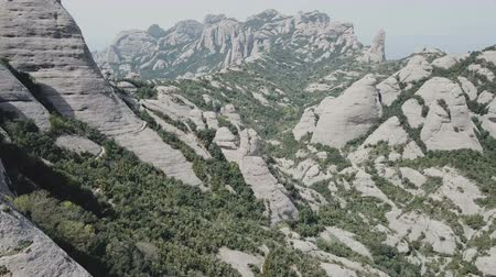 surroundings : Aerial view of picturesque rocky landscape Montserrat, Spain