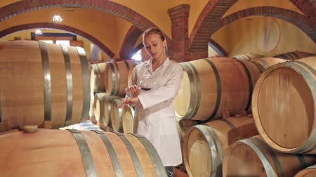 tasting : Female laboratory technician working with wine in cellar