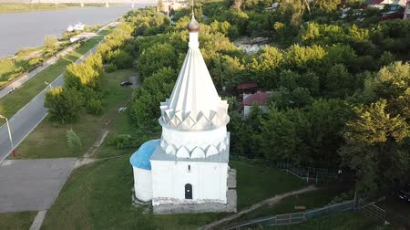 christianity : View from the drones of the church of Kozma and Demian in Murom, Russia Stock Footage