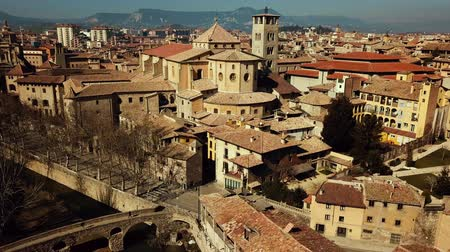 episcopal : Aerial view of historic center of Vic with cathedral close to river and Romanesque bridge
