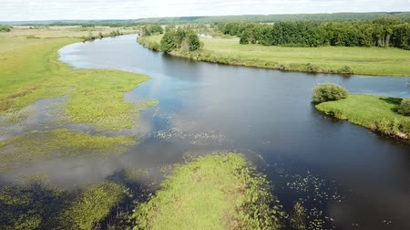 pláně : Panoramic view of gulf meadows in the floodplain of the Oka River, Russia