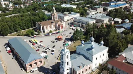 felemelkedés : Aerial view of central Cathedral Square in the town of Kasimov with Ascension Cathedral and Church of Assumption