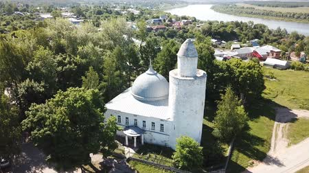 tatar : Aerial view of city landscape of Kasimov on Oka river with oldest Khan mosque, Russia