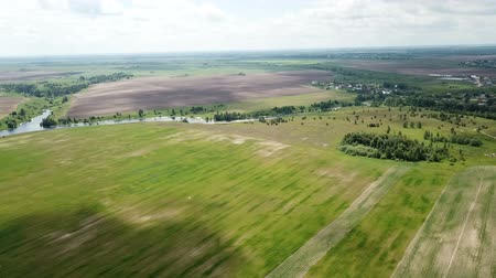 realty : Panoramic view of the fields in the middle lane of Russia at summer day