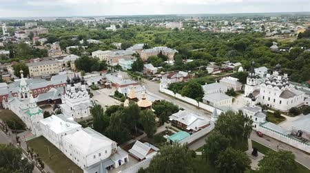 annunciation : Aerial view of the Russian city of Murom along the bank of the Oka River with the Trinity convent and Annunciation Monastery