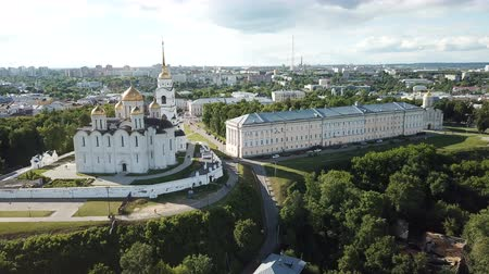 klyazma : Aerial view of the architectural ensemble of the Dormition Cathedral. Dmitrii in Russian town of Vladimir