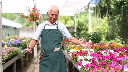 agrarian : Happy older man standing at smallholding in sunny summer day, proud of his garden