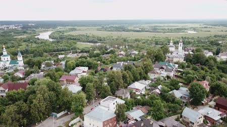 klyazma : View from the drones of the historical part of the Vladimir with Klyazma River