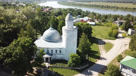 khan : Aerial view of city landscape of Kasimov on Oka river with oldest Khan mosque, Russia