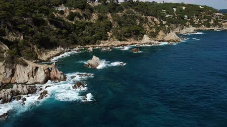 scenes : View from the drone of the Castell den Playa in the Mediterranean coastal town of Lloret de Mar, Catalonia, Spain