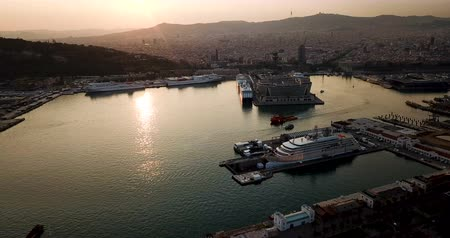 marine park : Aerial view from drones of old port in Barcelona with sailboats and yachts