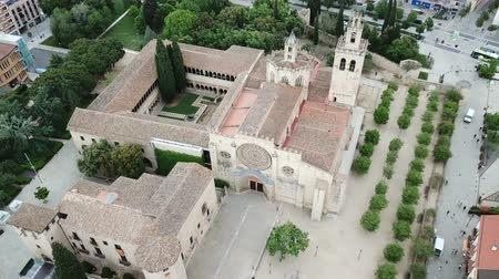 romanesk : Aerial view of monumental Benedictine Monastery in Spanish town of Sant Cugat