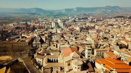 reddish : Panoramic view of the historical district of Vic with view of mountains, Catalonia, Spain
