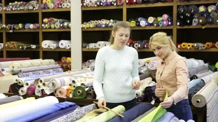 vystavený : Polite female seller helping young woman in choice of interesting cloth in textile shop Dostupné videozáznamy