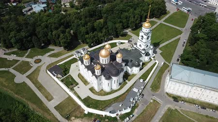 klyazma : Aerial view of the architectural ensemble of the Dormition Cathedral in the Russian town of Vladimir