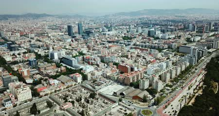 námořní : Panoramic view of modern areas of Barcelona with Mediterranean in cloudy day