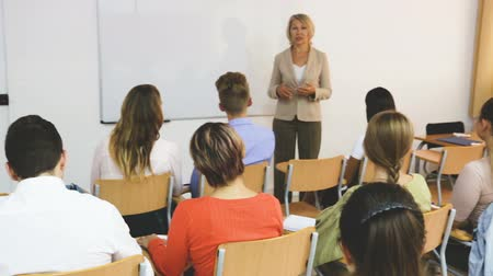 faculty : Elegant female teacher lecturing to students in auditorium