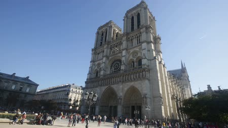 spire : PARIS, FRANCE - OCTOBER 10, 2018: Medieval Catholic cathedral Stock Footage