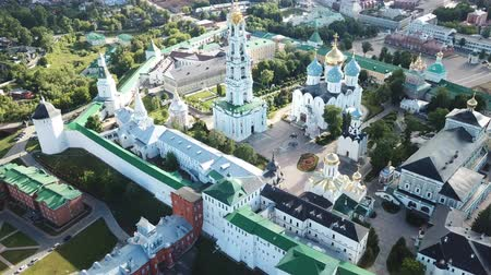 assumption : Aerial panoramic view of Holy Trinity Sergius Lavra in Sergiev Posad on sunny summer day, Russia Stock Footage