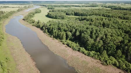 territorial : Scenic view of flood meadows near Oka River in central Russia